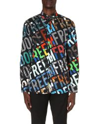 Moschino Freedomprint Cotton Shirt Black - Lyst