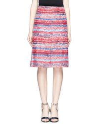 Tory Burch Herringbone Knit Print Silk Pencil Skirt blue - Lyst