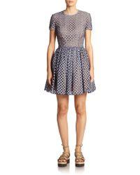 Michael Kors Lattice Cut-Out Gingham Dress - Lyst