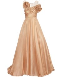 Marchesa Draped Tulle And Silk-Organza Gown - Lyst