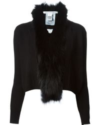 Diane Von Furstenberg Racoon Fur Trim Cardigan - Lyst