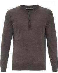 Dolce & Gabbana | Long-sleeved Silk-knit Henley Top | Lyst