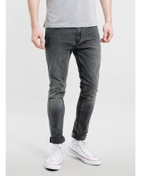 Topman Grey Washed Stretch Skinny Jeans - Lyst