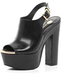 River Island Black Peep Toe Sling Back Platforms - Lyst