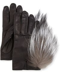Inverni Leather Gloves With Fox Fur - Lyst