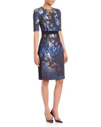 Teri Jon By Rickie Freeman   Floral Crepe Dress   Lyst