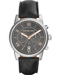 Michael Kors Hawthorne Leather-Strap Watch - Lyst