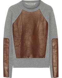 Reed Krakoff - Leatherpaneled Cashmere Wool and Silkblend Jumper - Lyst
