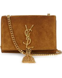 Saint Laurent   Cassandre Monogram Small Suede Cross-Body Bag   Lyst