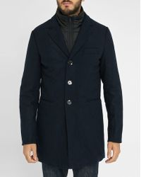Scotch & Soda   Navy Wool Removable-liner Overcoat   Lyst