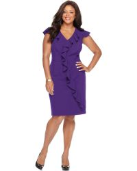 Spense | Plus Size Cap-sleeve Banded-waist Ruffle Dress | Lyst