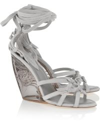 Donna Karan | Tiberias Suede And Perspex Wedge Sandals | Lyst
