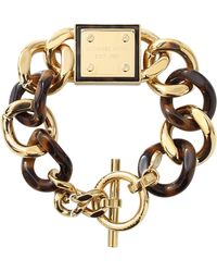 Michael Kors Tortoise Curb Bracelet gold - Lyst