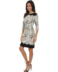 Adrianna Papell Guipure Lace Printed Sheath - Lyst