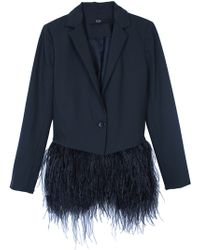 Tibi Cera Tuxedo Feather Trim Blazer - Lyst