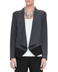 Eileen Fisher Drape-front Colorblock Jacket - Lyst