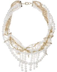 "Sam Edelman - Faux Pearl and Chain Statement Necklace, 16"" - Lyst"
