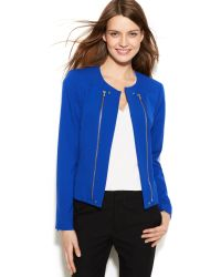 Calvin Klein Collarless Exposedzipper Jacket - Lyst