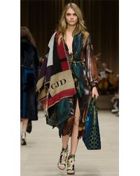 Burberry Geometric Print Layered Silk Smock Dress - Lyst