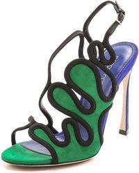 Sergio Rossi Suede Heels - Green/Blue - Lyst