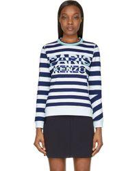 Kenzo Mint And Navy Striped Paris Sweatshirt - Lyst