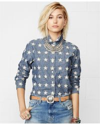 Denim & Supply Ralph Lauren Starappliqué Chambray Shirt - Lyst