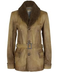 Ralph Lauren Blue Label Shearling Collar Leather Jacket - Lyst