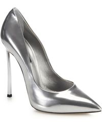 Casadei Blade Metal-Heeled Metallic Leather Pumps - Lyst