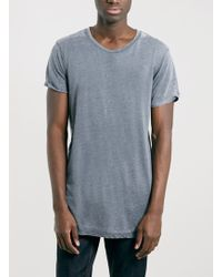 Topman Selected Homme Long Line Grey T-Shirt - Lyst