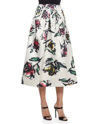 Phoebe - Floral-print Jacquard Tea-length Skirt - Lyst
