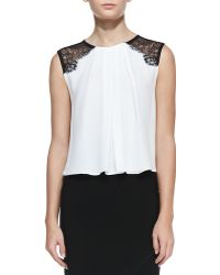 Alice + Olivia Lorretta Laceshoulder Sleeveless Top White Alice Olivia - Lyst