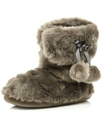 River Island Brown Faux Fur Fold Down Boots - Lyst