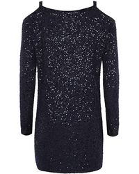 Donna Karan New York Sequinned Cold Shoulder Sweater - Lyst