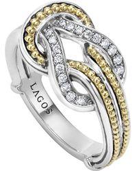 Lagos | Newport 18k Gold Diamond Knot Ring | Lyst
