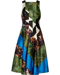 Proenza Schouler Paneled Printed Satin Dress - Lyst