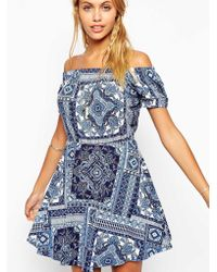Asos Gypsy Skater Dress In Paisley Print - Lyst