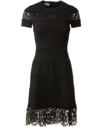 Valentino Black Stretch Lace Embroidered Dress - Lyst