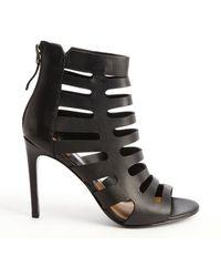 Dolce Vita Black Leather Hettie Cutout Detail Open Toe Booties - Lyst