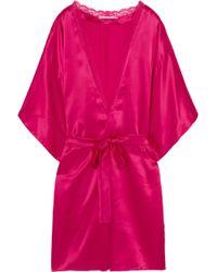Stella McCartney - Clara Whispering Lace-trimmed Silk Robe - Lyst