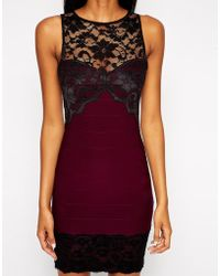 Asos Lace Sweetheart Bandage with Lace Hem - Lyst