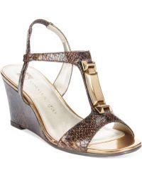 Anne Klein Edlynn T-strap Wedge Sandals - Lyst