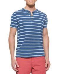 Tailor Vintage Striped Short-Sleeve Henley Tee - Lyst