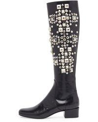 Saint Laurent Studded Leather Knee Boot - Lyst