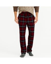 J.Crew - Flannel Pyjama Pant In Burgundy Plaid - Lyst