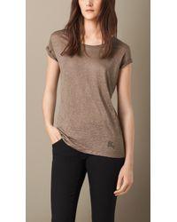 Burberry Brown Linen T-Shirt - Lyst