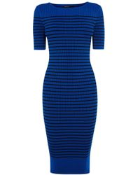 Karen Millen Stripe Rib Knit Dress - Lyst