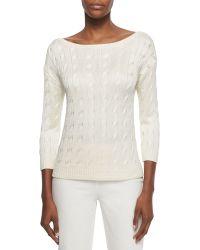 Ralph Lauren Black Label - Cable-knit Boat-neck Sweater - Lyst