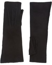 Barneys New York Long Fingerless Suede Gloves - Lyst