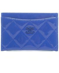 Chanel Pre-owned Blue Patent Leather Card Holder - Lyst