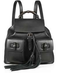 Gucci Bamboo Sac Leather Backpack - Lyst